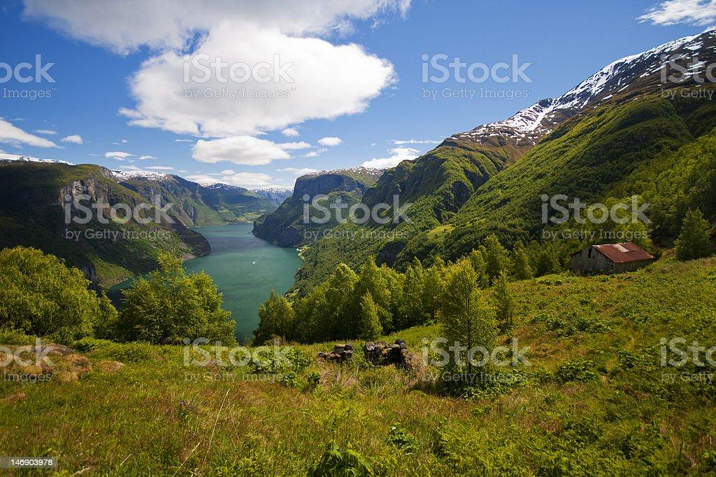 Stigen, Aurland, Norway stock photo
