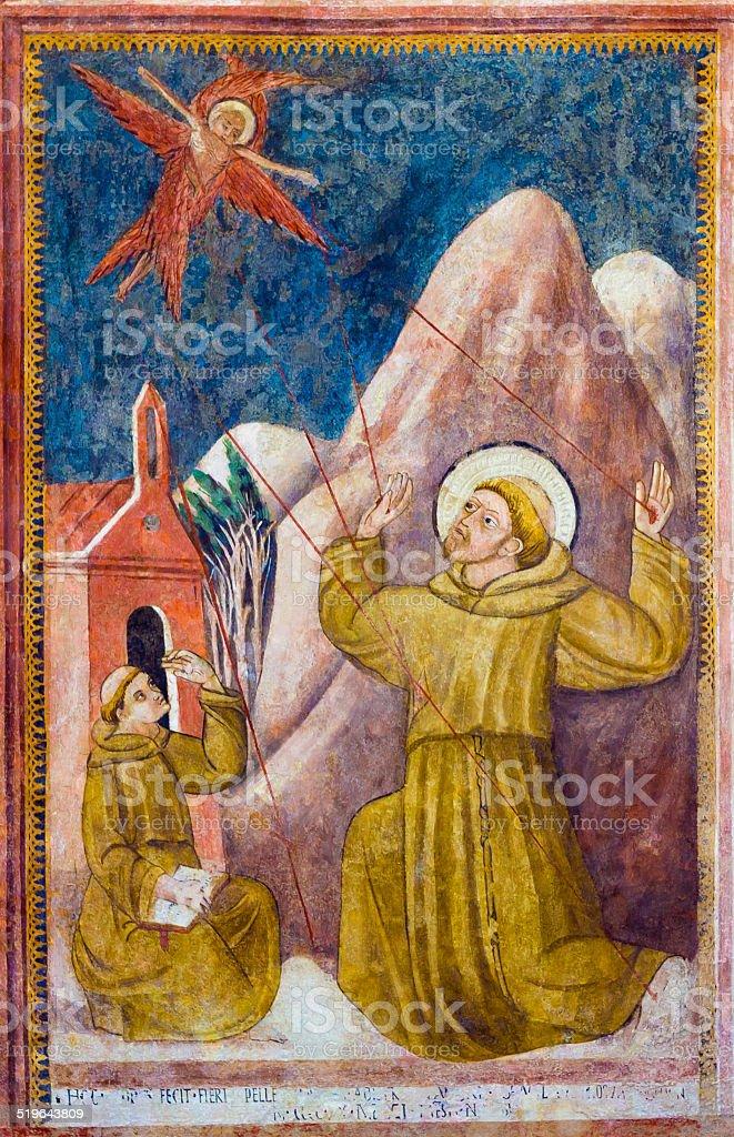 Stigmata of St. Francis of Assisi stock photo