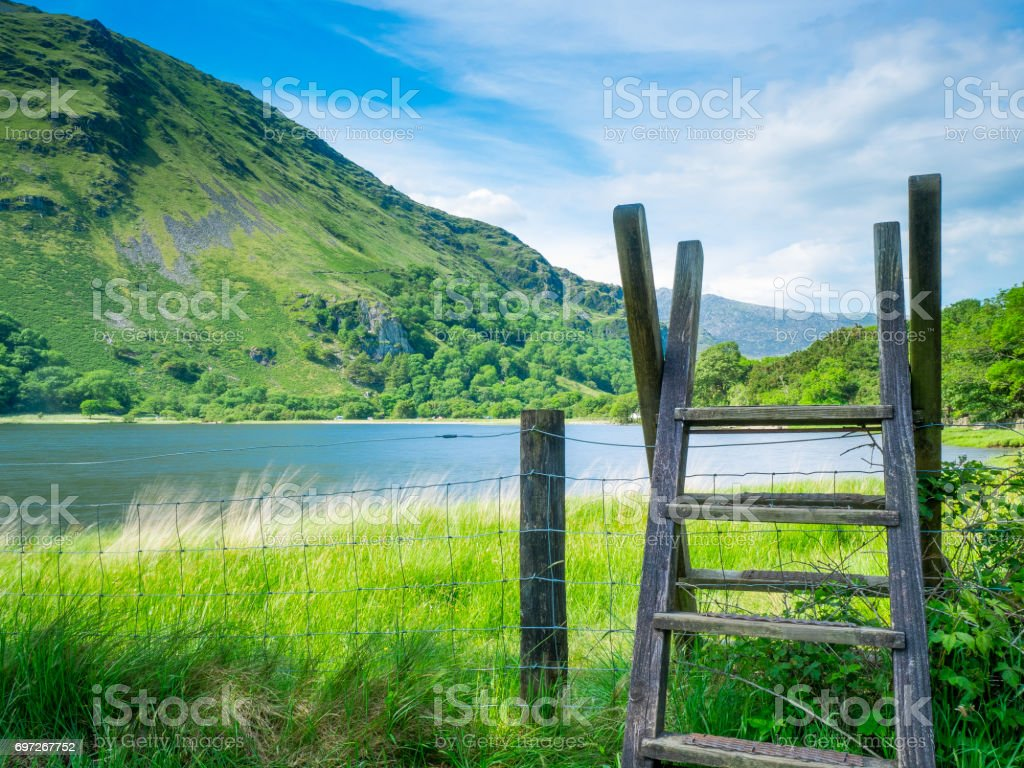 Stile ladders in the Welsh Mountains of Snowdonia stock photo
