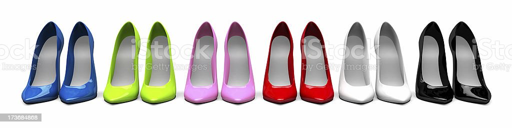 3D Stiletto Shoes in line royalty-free stock photo