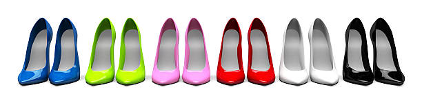 3D Stiletto Shoes in line stock photo
