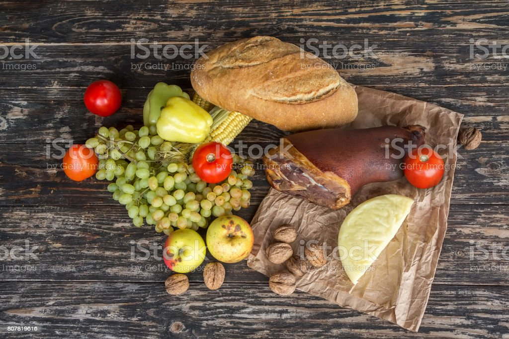 Still a top view of the food on rustic wooden table stock photo