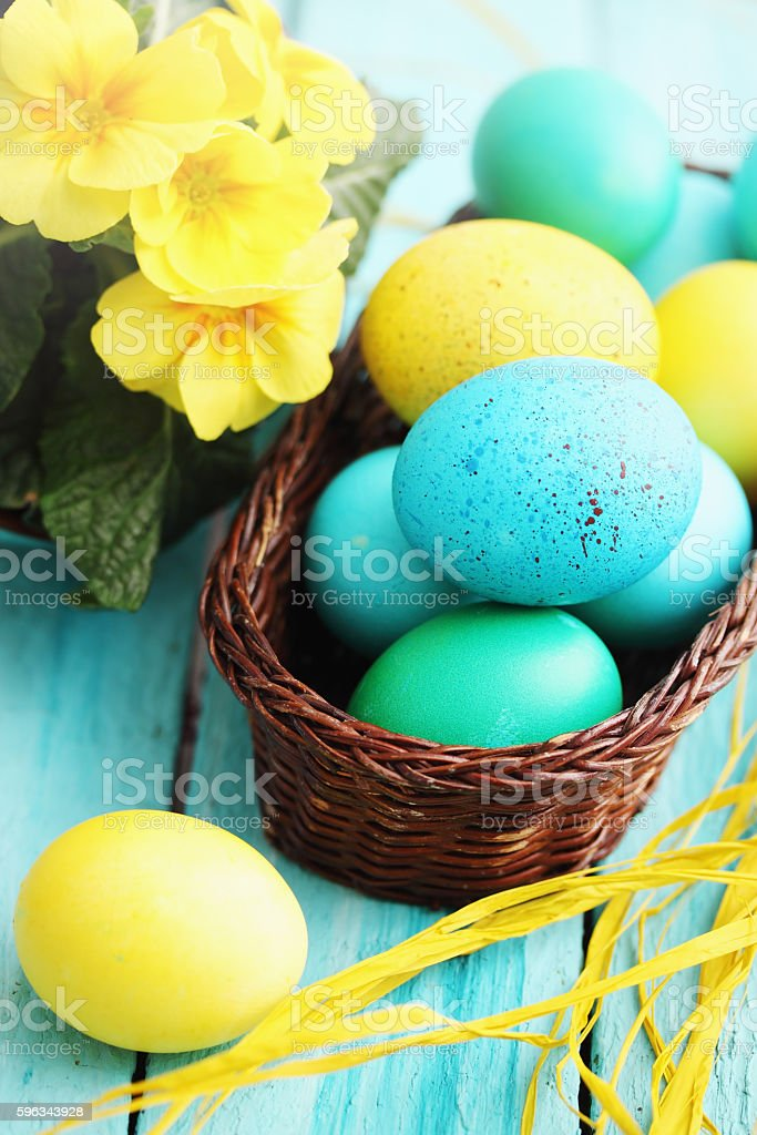 Still basket and eggs royalty-free stock photo