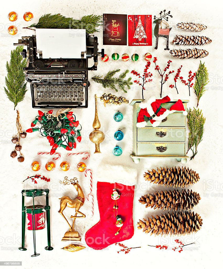 Still Life Aerial View of Vintage Christmas Ornaments stock photo