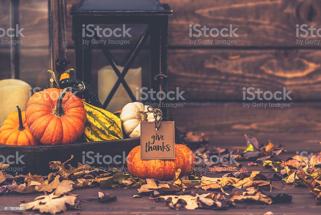 Still life arrangement for Thanksgiving with message. Happy Fall stock photo