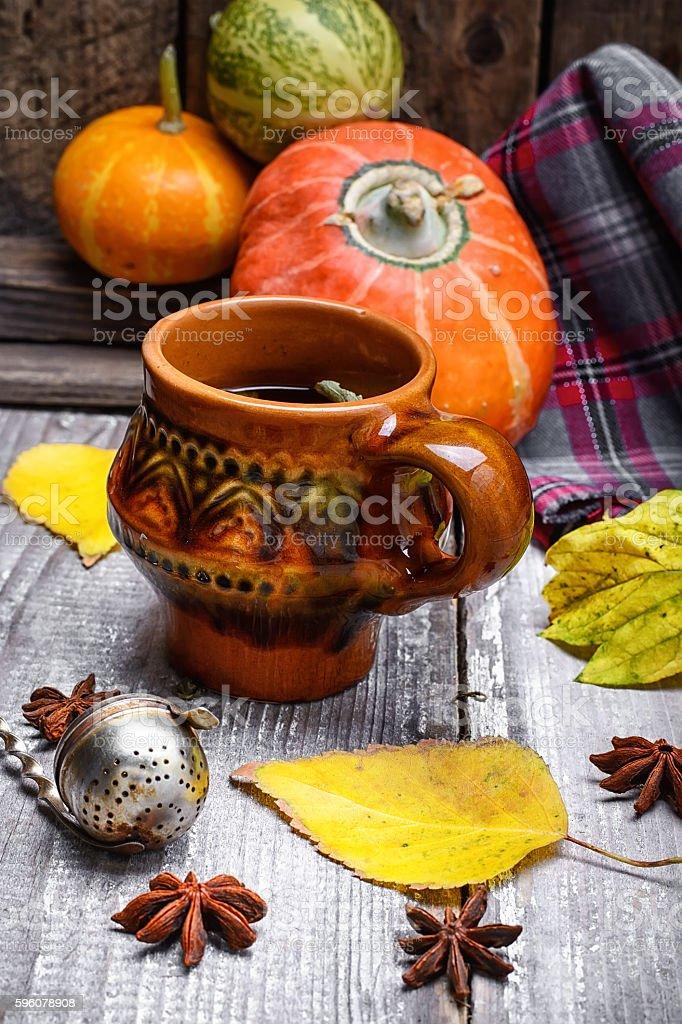 Still life autumn tea party royalty-free stock photo
