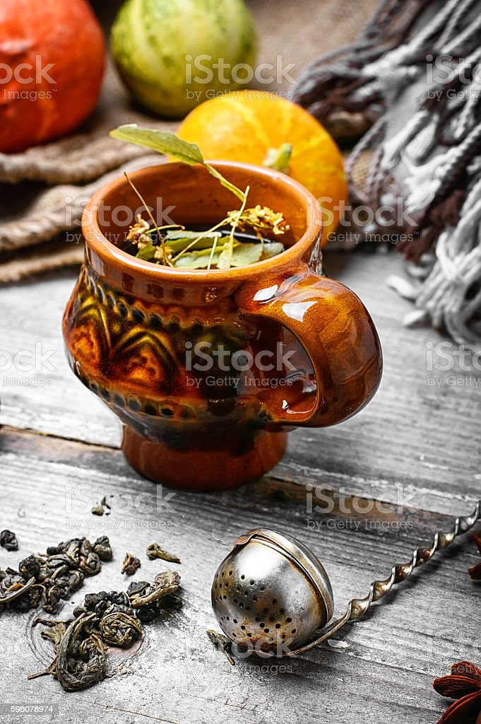 Still life autumn tea party royalty-free stock photo