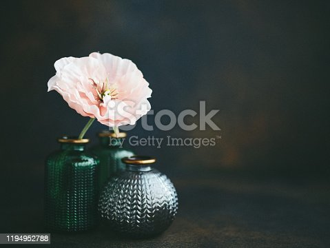 istock Still life background with small glass jars and pink poppies 1194952788