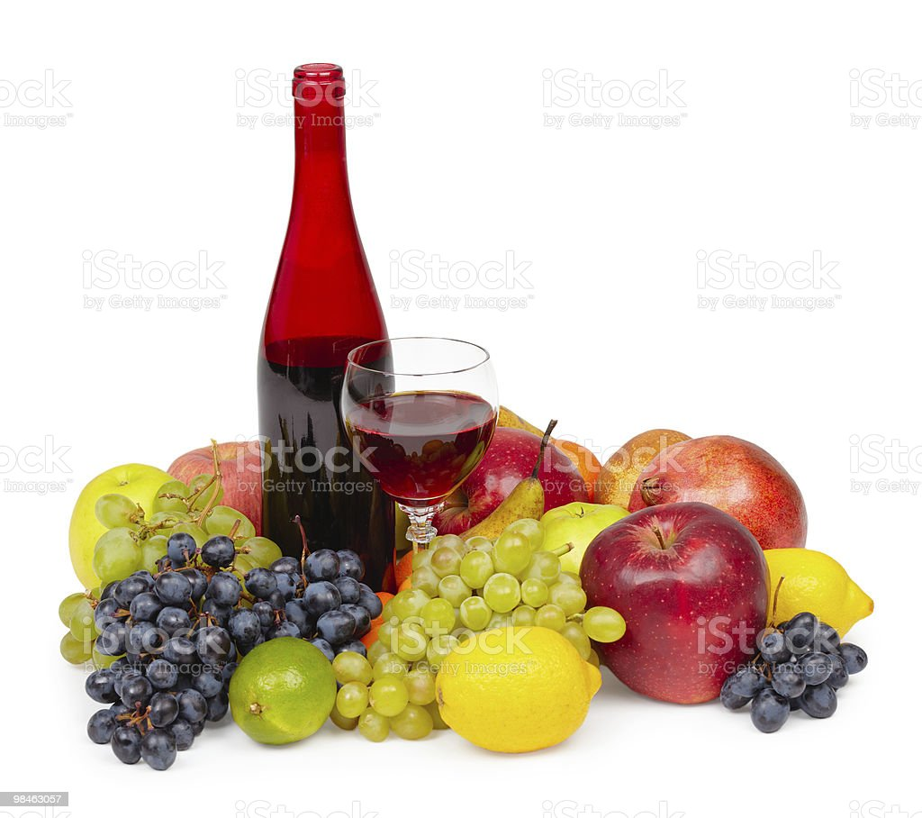 Still life - bottle of red wine, glass and fruit royalty-free stock photo