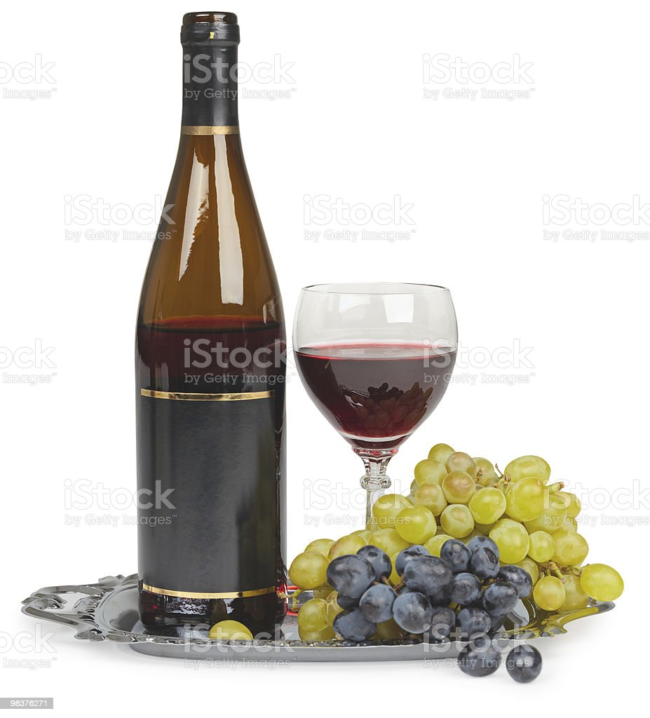 Still life - bottle of wine glass and grapes royalty-free stock photo