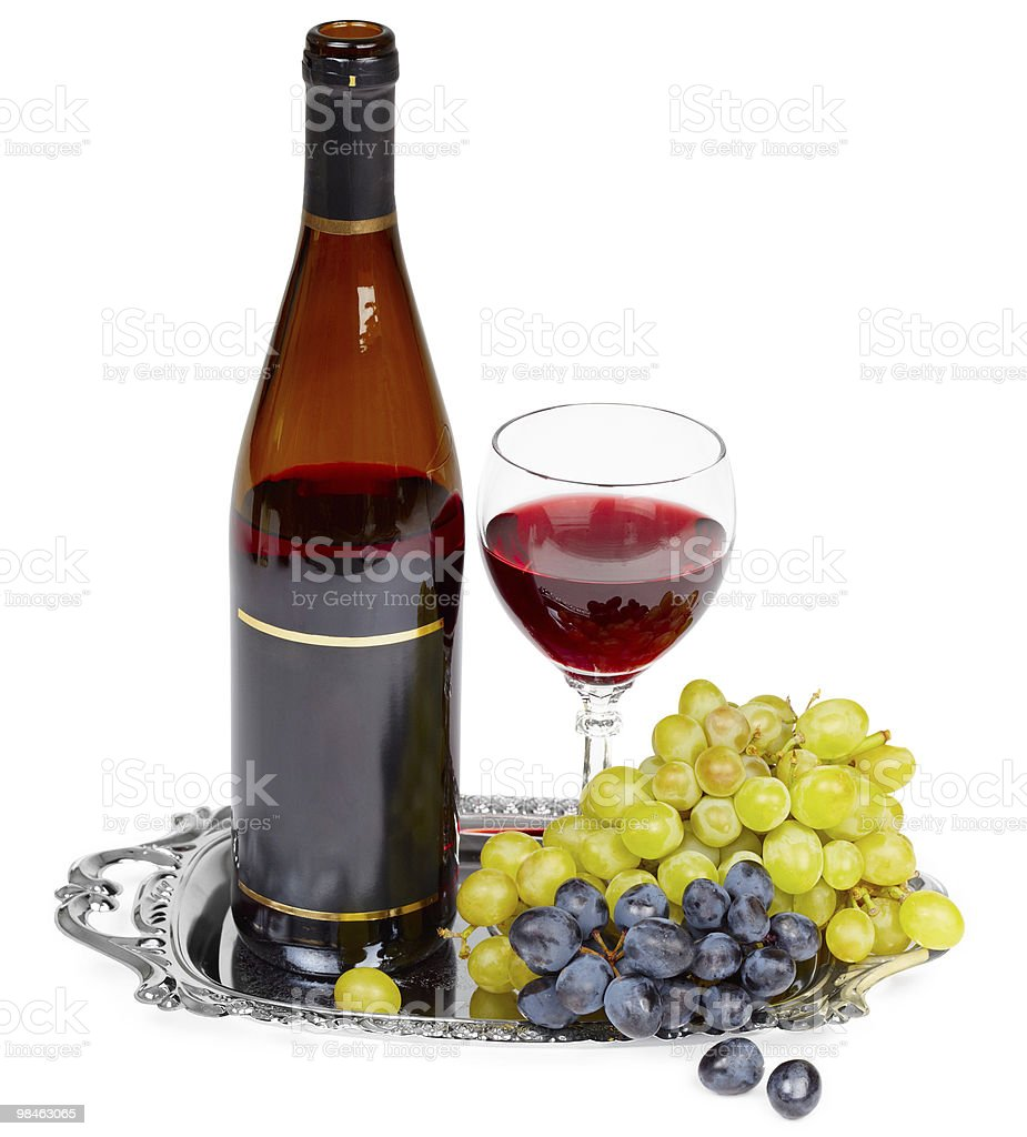 Still life - bottle of wine, glass and grapes royalty-free stock photo