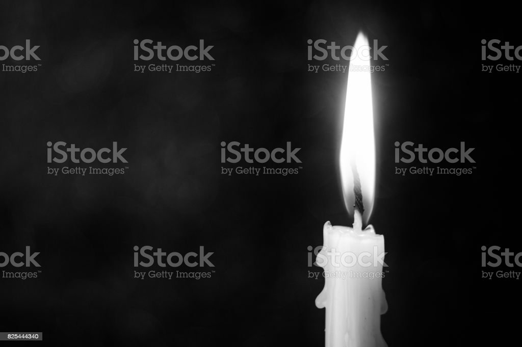 Still life candle light with abstract black and white concept