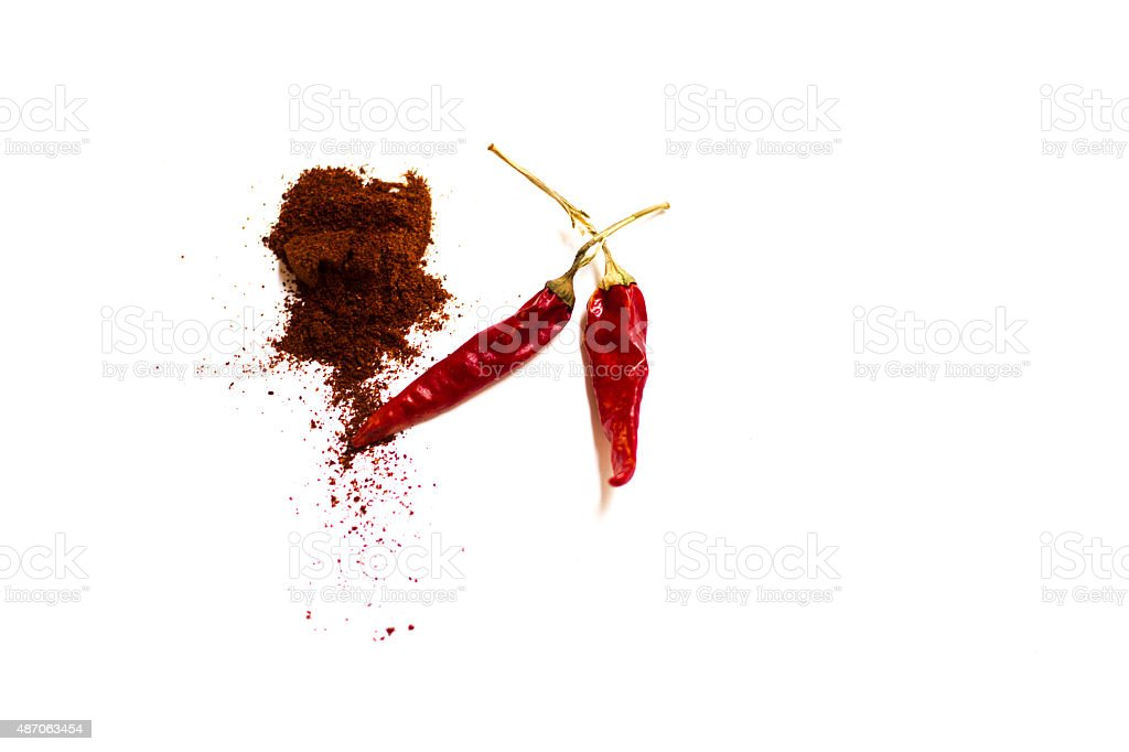 Still Life: Chili Peppers, Chili Powder, White Background stock photo