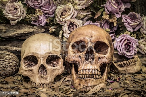 1176385551istockphoto still life couple human skull with roses 511789204