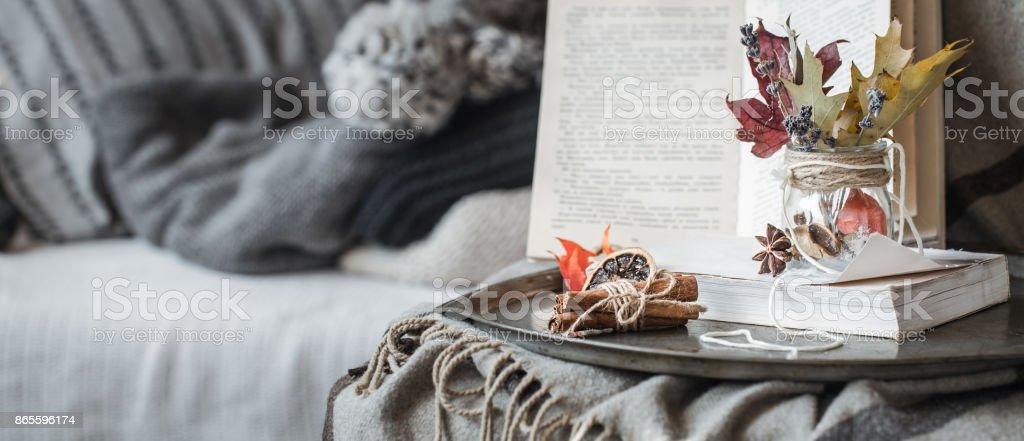 Still life details of living room stock photo