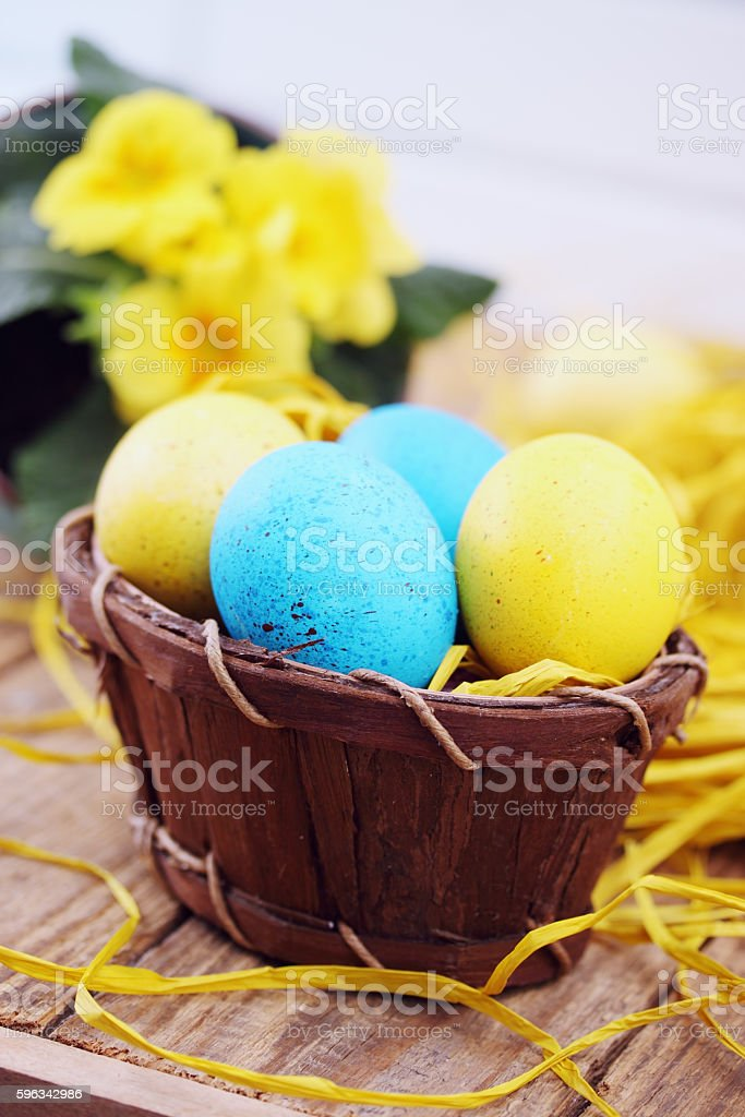 still life, eggs in the basket royalty-free stock photo