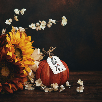 Still life fall Thanksgiving arrangement with sunflowers and pumpkin with Fall greeting