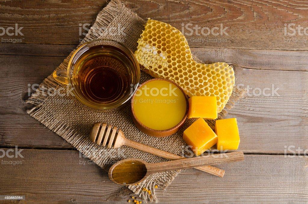 Still life from cup of tea, honey, wax and honeycombs stok fotoğrafı