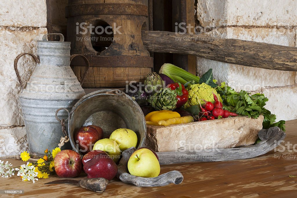 Still life fruit and vegetables royalty-free stock photo