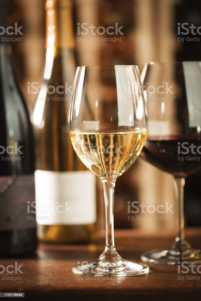 Still Life - Glasses of White and Red Wine Vt royalty-free stock photo