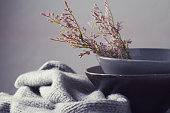Still life gray vintage bowls with flowers horizontal