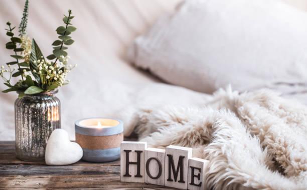 still life homely atmosphere in the interior - hygge imagens e fotografias de stock
