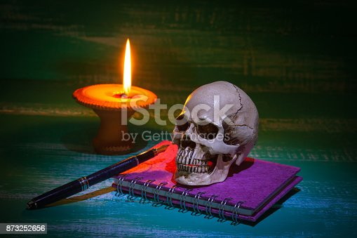 istock still life human skull and old book with candlestick 873252656