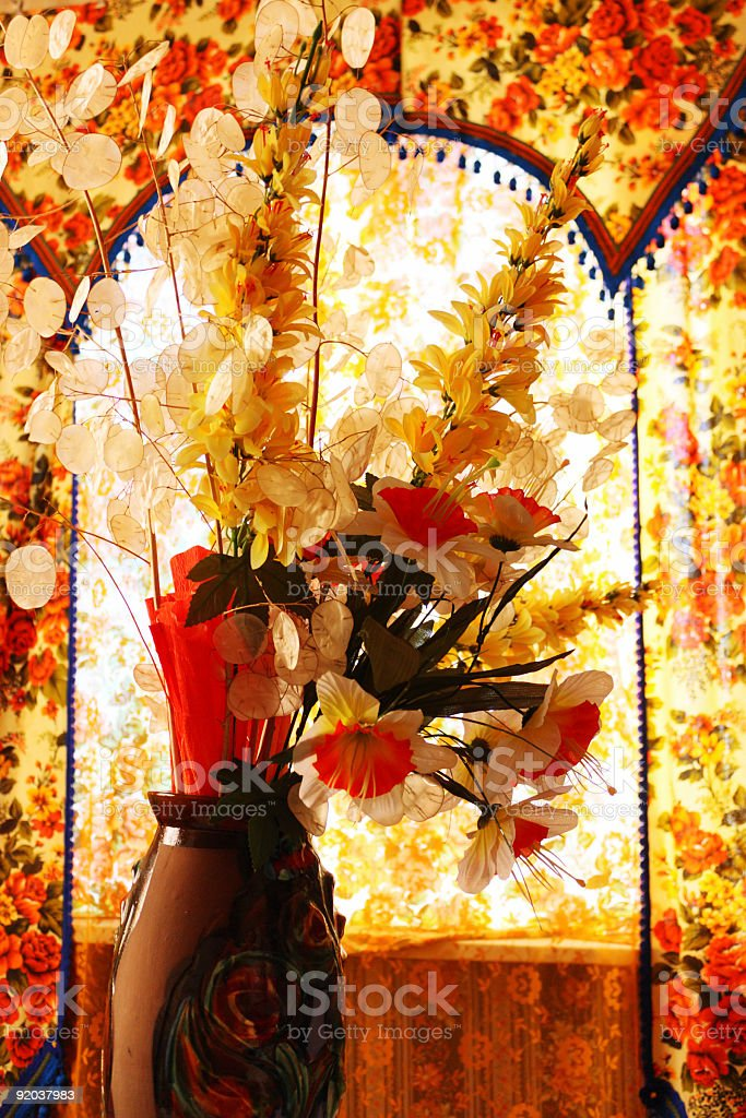 Still life in autumn colors from old, traditional Russian house royalty-free stock photo