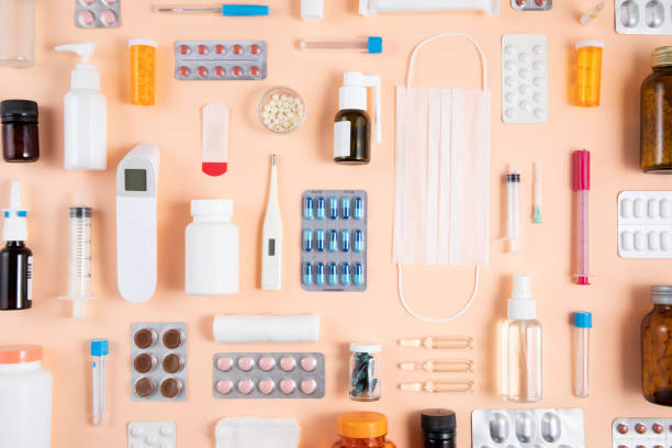 Still Life Knolling with Medical Supplies stock photo