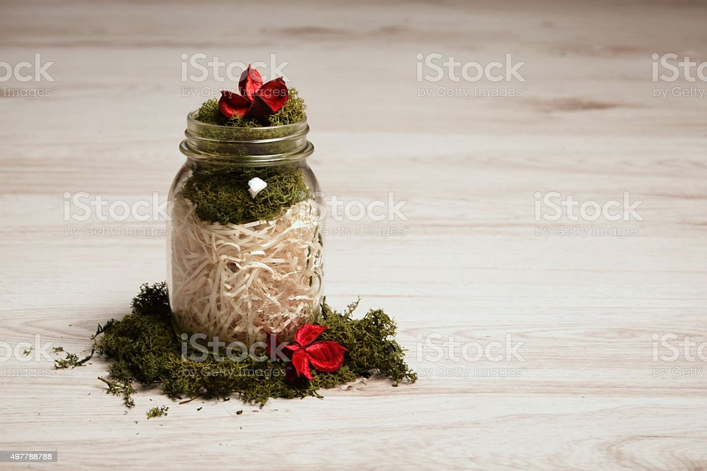 Still Life Moss And Hay In Or Around Glass Jar Stock Photo & More ...