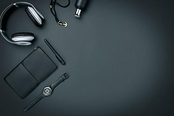 still life of casual man. modern male accessories on black - kişisel aksesuar stok fotoğraflar ve resimler