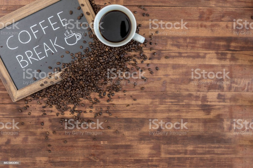 Still life of coffee and sign with copy space stock photo