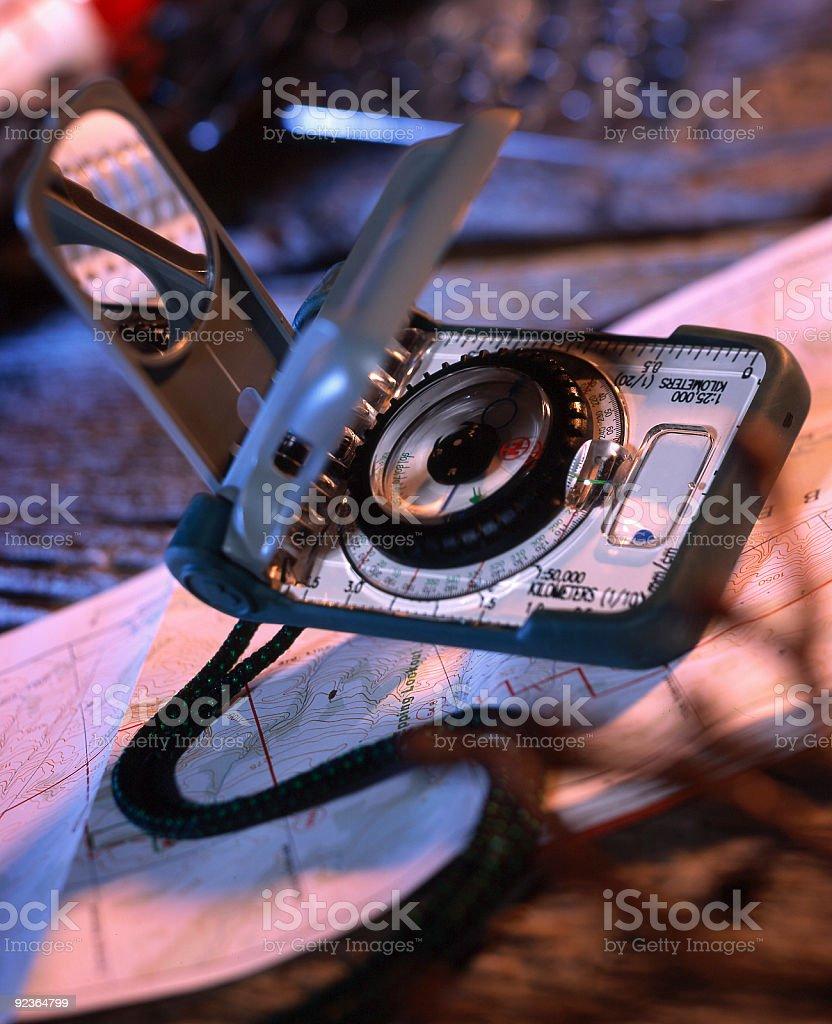 Stillleben von Kompass und Karte Lizenzfreies stock-foto