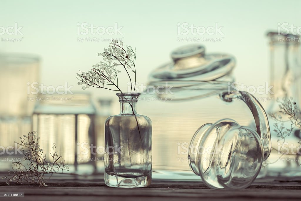 Still Life of Different Glassware - vintage style stock photo