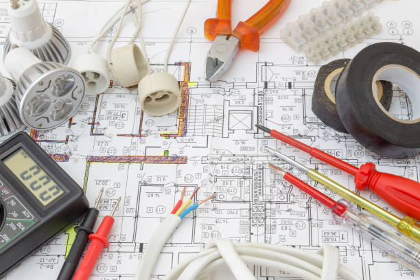 Still Life Of Electrical Components Arranged On Plans ストックフォト