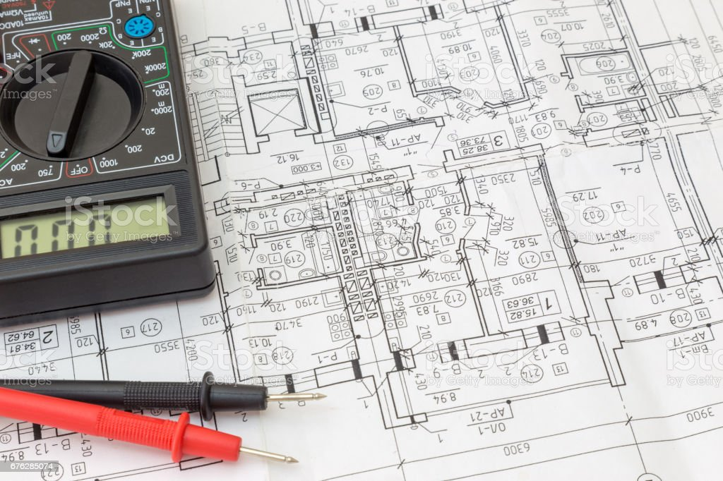 Still Life Of Electrical Components Arranged On Plans stock photo