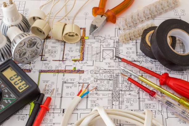 Vida de componentes eléctricos de disponer de planes - foto de stock