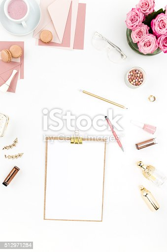 istock Still life of fashion woman, objects on white 512971284