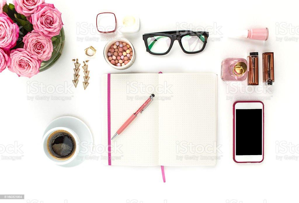 Ainda vida de Moda mulher, objetos em branco foto royalty-free