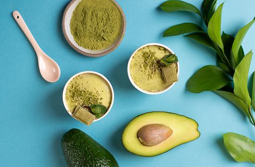 Still life of food: green ice cream, avocado, green matcha tea. Organic food.