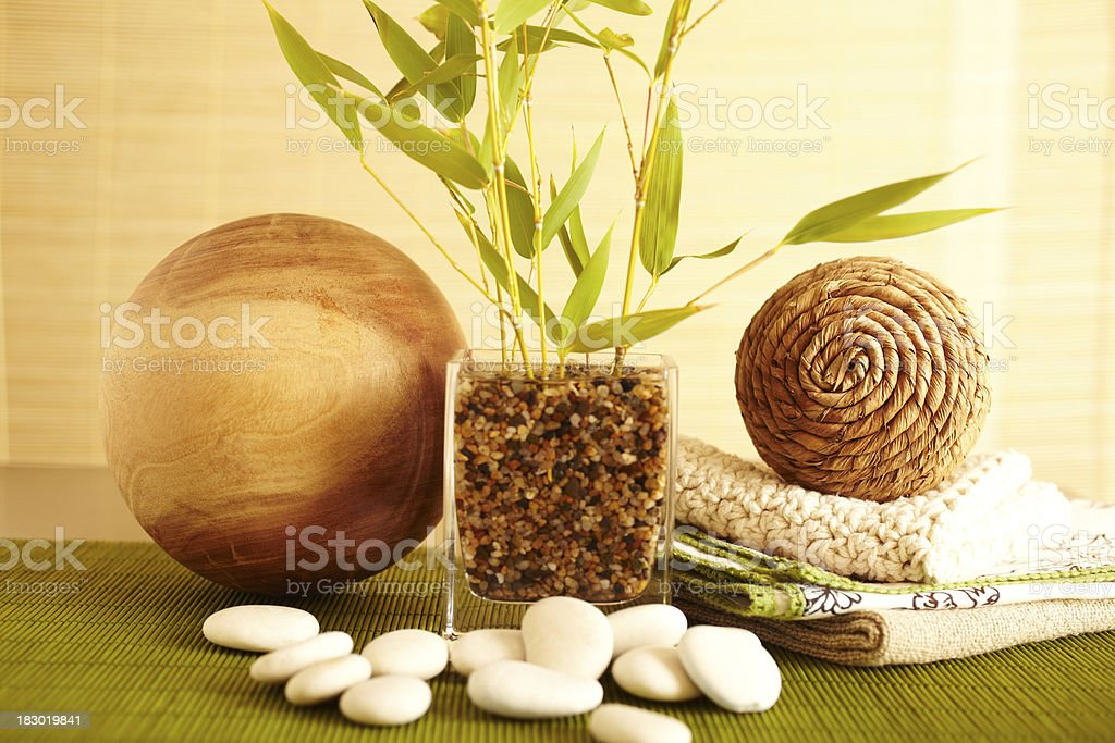 Still life of home decor bamboo in vase royalty-free stock photo