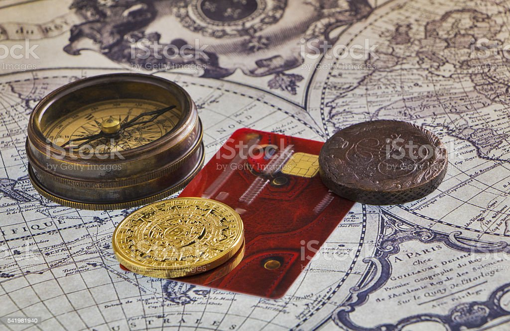 Still life of items for travel. stock photo