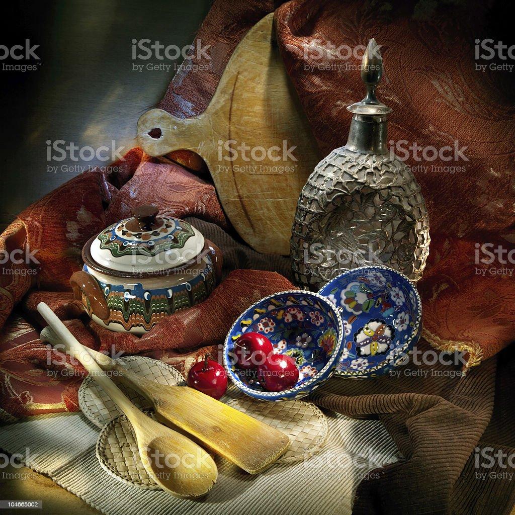 Still life of kitchen items royalty-free stock photo
