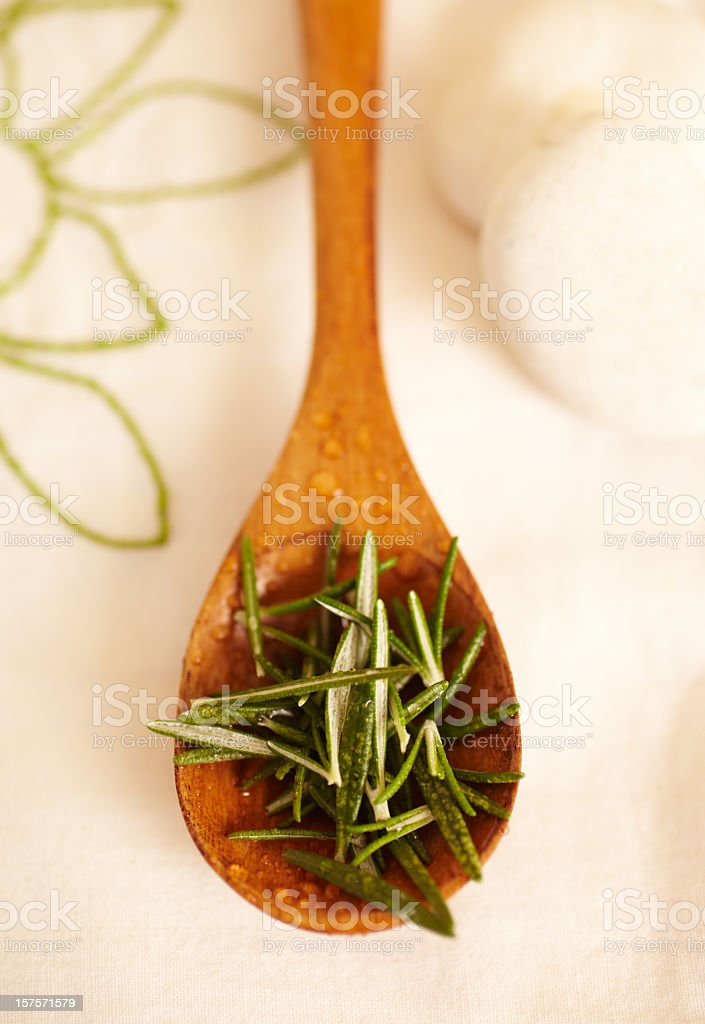 Still Life of organic rosemary in wood spoon royalty-free stock photo