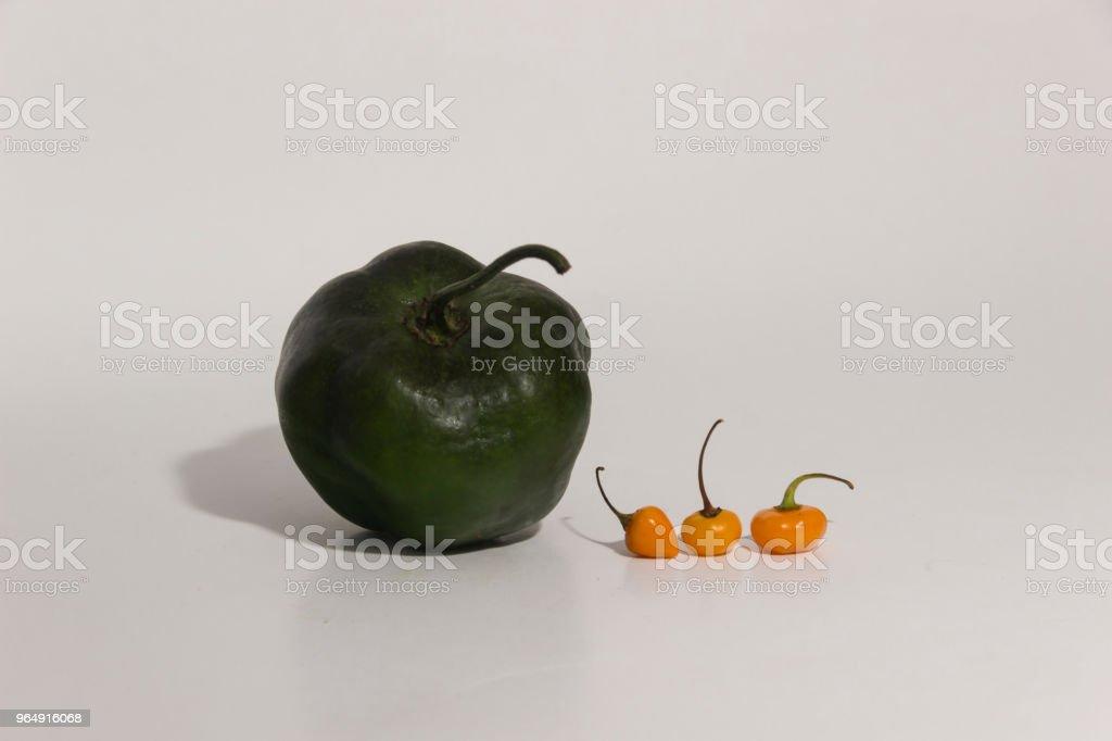 秘魯辣椒的靜物-比較大小 - 免版稅人圖庫照片