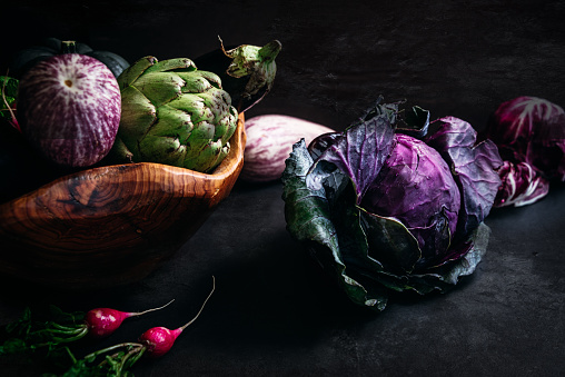 Still life of vegetables with dark background