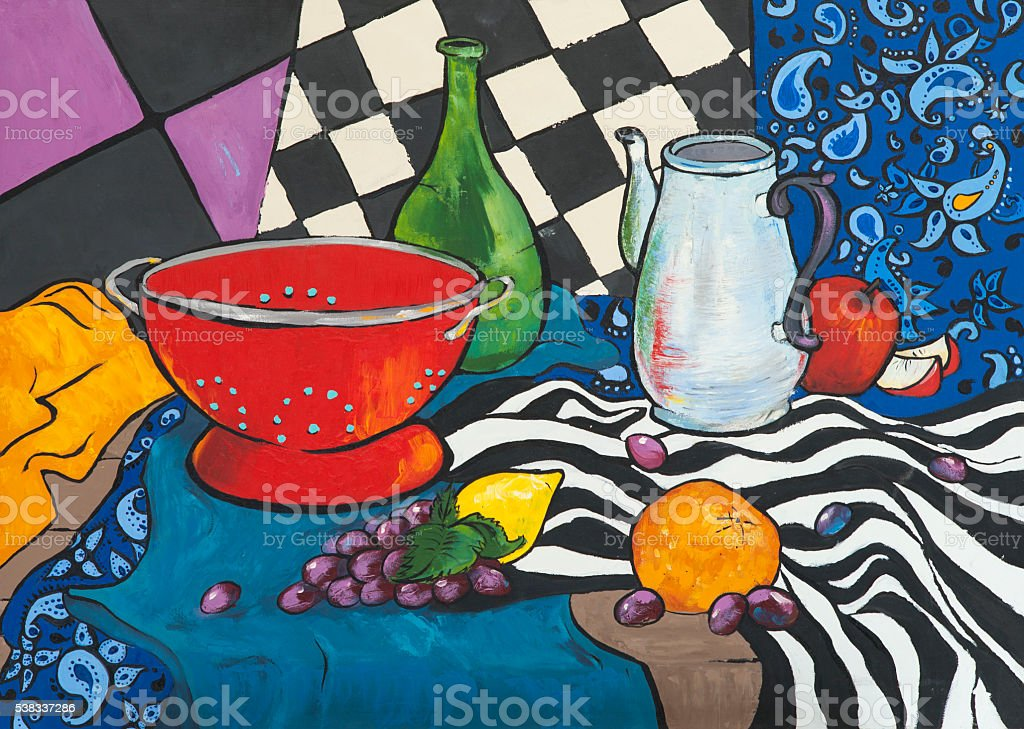 Still life oil painting in the style of Fauvism stock photo