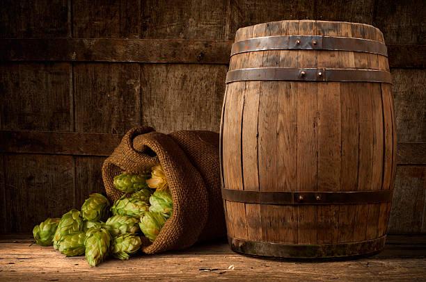 Stillleben: Alte hölzerne pin Bier – Foto