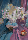 Still life painted in gouache