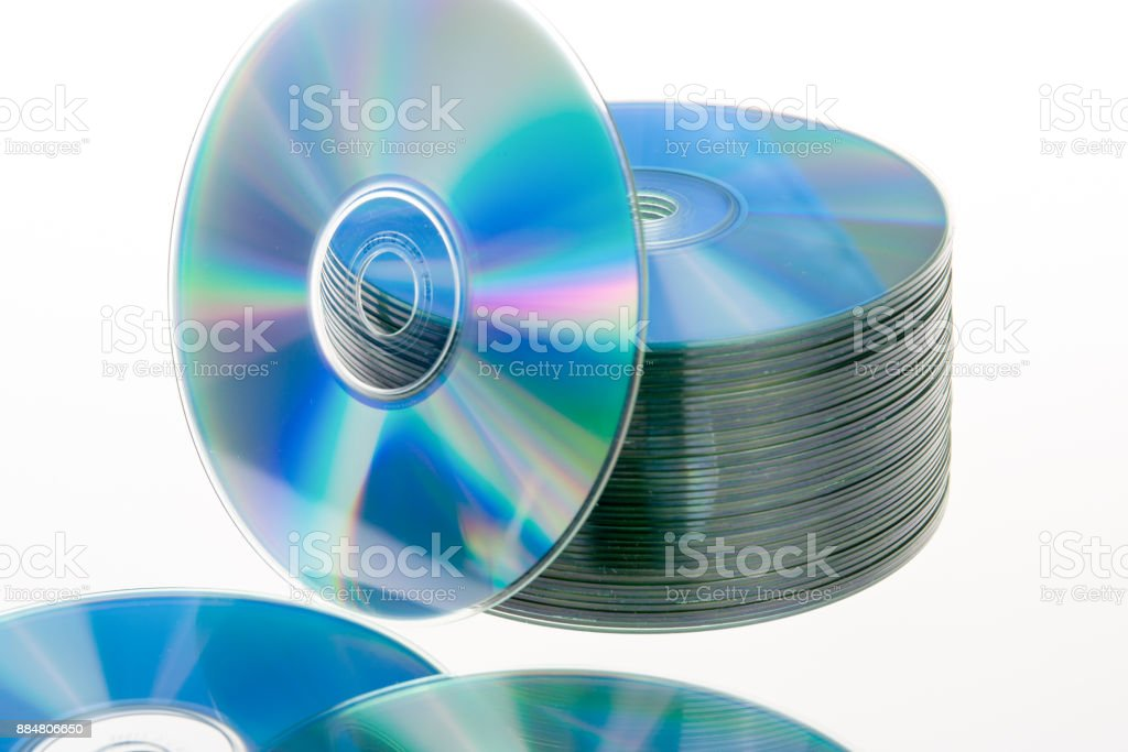 still life portrait of a stack of compact disc stock photo